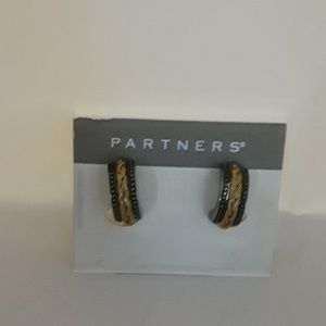 Partners silver & gold toned braided earrings